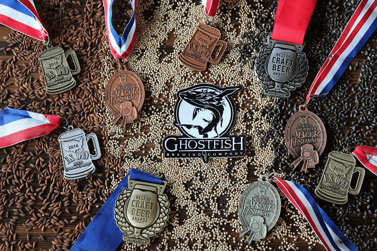 Ghostfish Brewing Medals and Grains