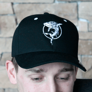 Ghostfish Brewing Adjustable Baseball Style Cap, All Black Front